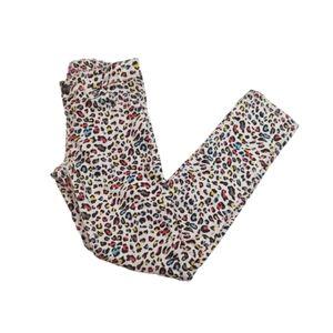 Lee Skinny Leg Rainbow Cheetah Print White Jeans